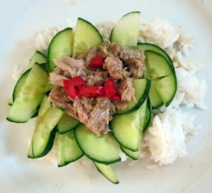 cucumber & tuna on rice