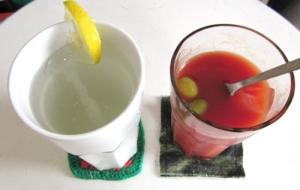 honey and lemon, tomato juice and olives