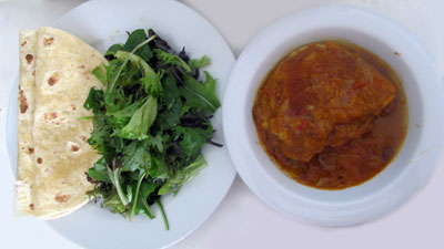 butter chicken, chapati and salad