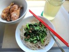 Five spice salt baked chicken drumsticks & vegetarian mung bean vermicelli stir fry