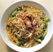 Mung bean vermicelli vegetarian stir fry with Laksa broth