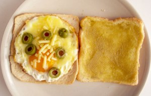 Egg, cheese, olives with Kaya toast