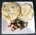 Chinese spring onion pancakes with pork roast slices