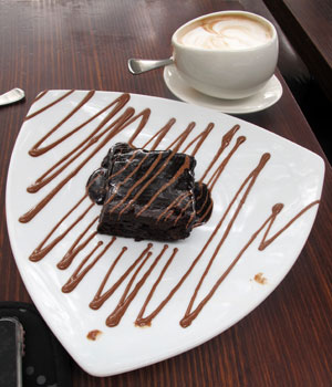 Max Brenner's choco brownie and hot choc