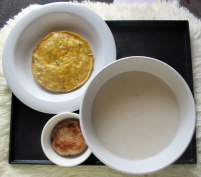 Gentle Lunch - congee, egg omelette & pork patty