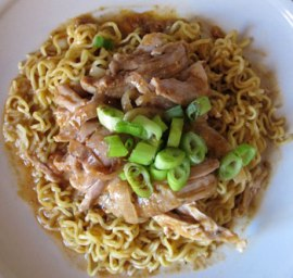 Chicken thigh and noodle.