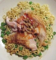 With noodles, yellow soy beans and green beans.