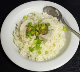 Deviant dinner: salted egg, spring onion and rice.