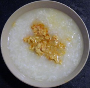 Plain Rice Congee with Salty Beancurd