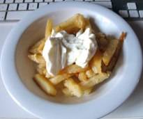 Teatime snack - oven baked fries and organic Greek yoghurt.