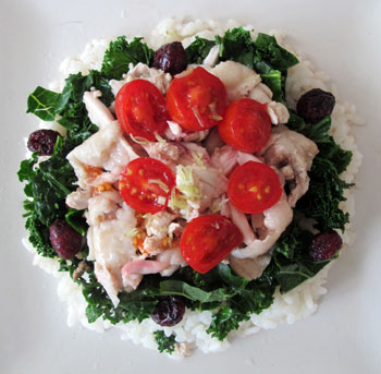 Luncheon is served! - boiled chicken, kale, tomato, lemongrass, dried cranberries, fish sauce and rice.