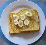 Breakfast French toast, creamy honey and banana.