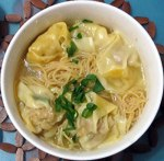 Wonton dumplings with Hong Kong style noodles in chicken broth.
