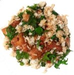 Fried rice from leftovers and baby kale