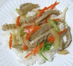 Spicy tripe on rice