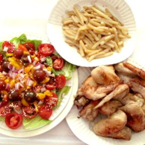 Brunch for two! - soggy fries, fresh salad, and chicken wings!
