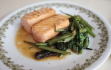 Pan-fried salmon & broccolini.