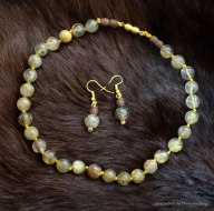 Gold flecked citrine with vintage wooden beads.