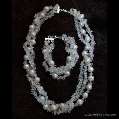 White river pearls & clear quartz for baby sis.