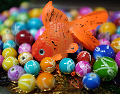 goldfish on beads