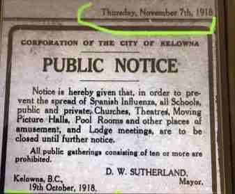 Spanish Flu 1918 announcement